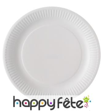 Assiettes blanches en carton biodégradable, 23cm