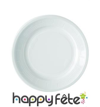 Assiettes blanches en plastique de 22cm