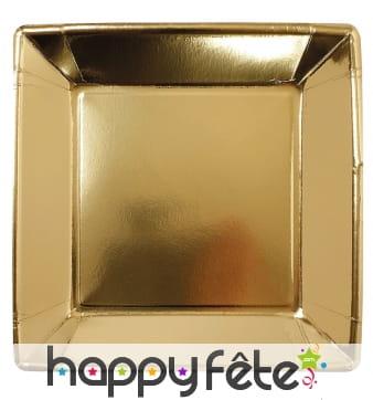 Assiettes carrées dorées de 23cm, par 8