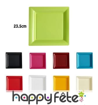 Assiettes carrées en plastique de 23,5cm