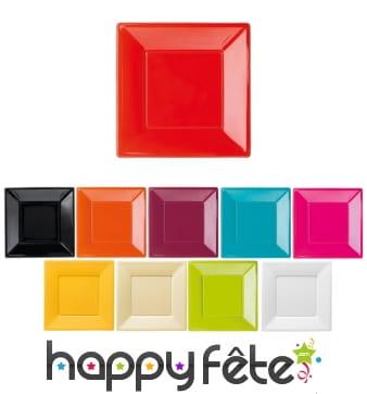 Assiettes carrées en plastique