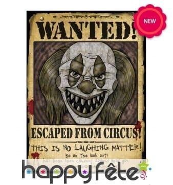Affiche clown tueur Wanted de 30 x 40 cm