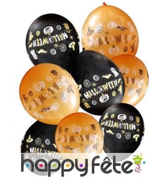 Assortiment de 8 ballons orange et noir halloween