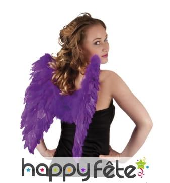 Ailes d'ange violetes en plumes