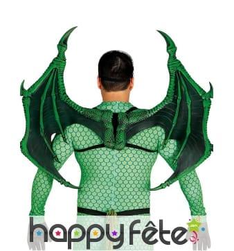 Ailes de dragon rigides effet écailles vertes