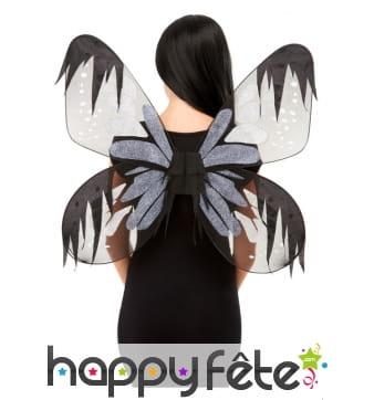 Ailes de papillon de nuitgris et noir pour adulte