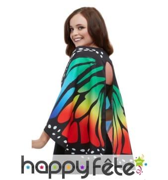 Ailes de papillon multicolore en tissus pour femme
