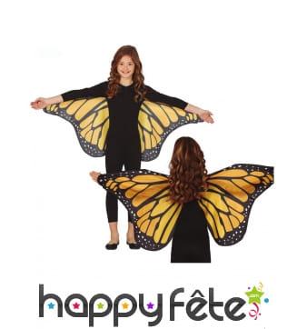 Ailes de papillon noires et oranges pour enfant