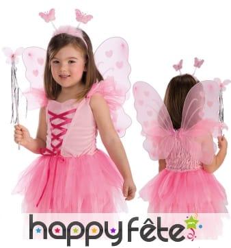 Ailes de papillon rose et serre tête pour enfant