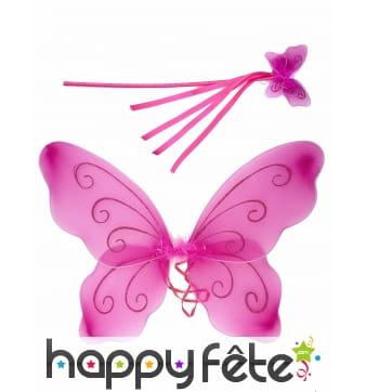 Ailes et baguette de papillon rose pour enfant