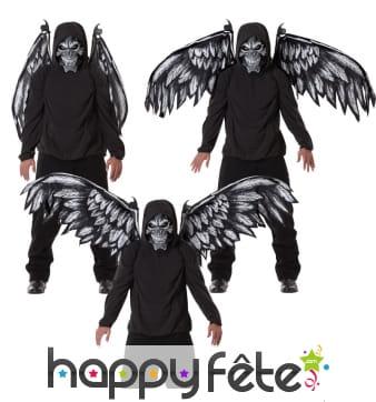 Ailes et masque d'ange squelette