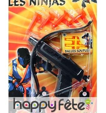 Arbalète ninja 17 cm avec flèches et cibles