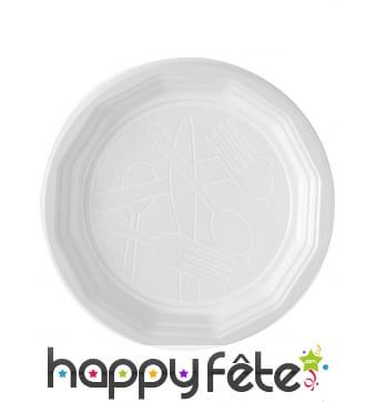 Assiettes plates blanches en plastique de 20cm
