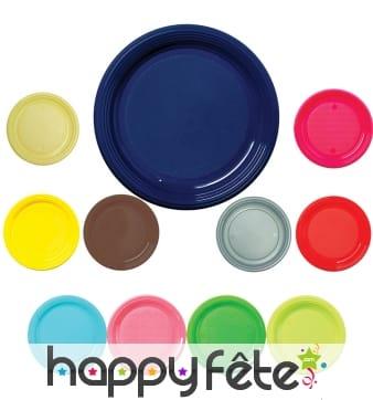Assiettes rondes en plastique