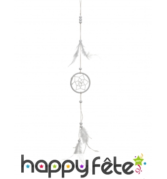 Attrape rêve indien blanc à plumes de 35 cm