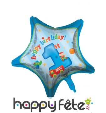 Ballon 1er anniversaire étoile bleue