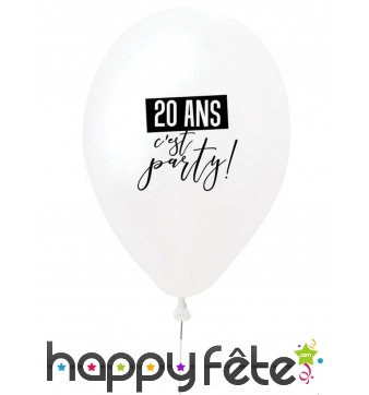 Ballon 20 ans c'est party blanc en latex de 27 cm