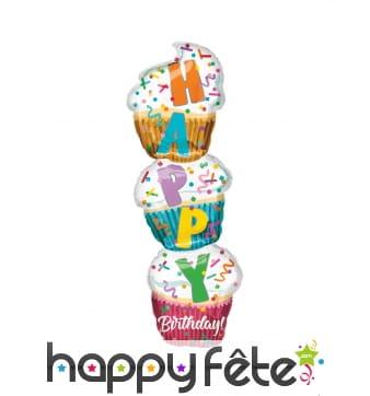 Ballon 3 cupcakes Happy Birthday, 33 x 104 cm