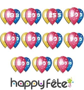 Ballons anniversaire avec âge imprimé
