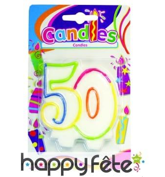 Bougie anniversaire chiffre 50