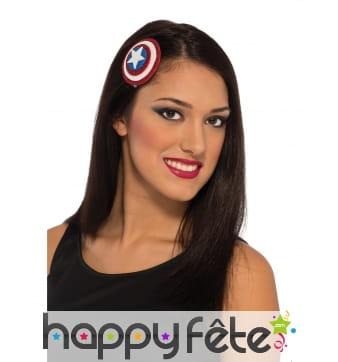 Broche à cheveux de Captain America pour femme