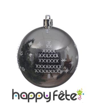 Boule argentée de Noël sapin et flocons 8cm