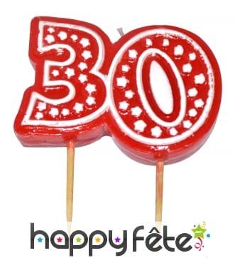 Bougie anniversaire forme n°30