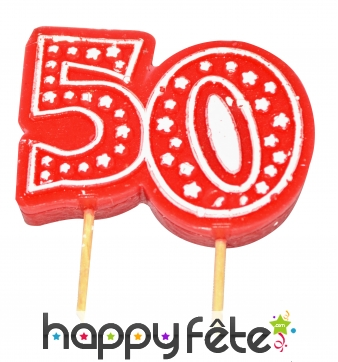 Bougie anniversaire forme n° 50