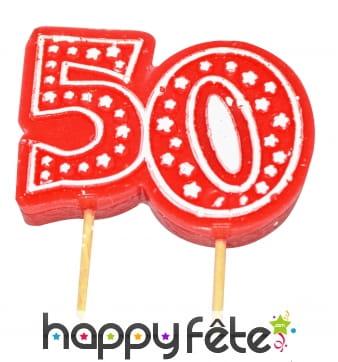 Bougie anniversaire forme n° 50