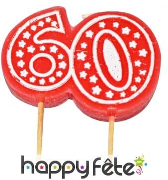 Bougie anniversaire forme n° 60