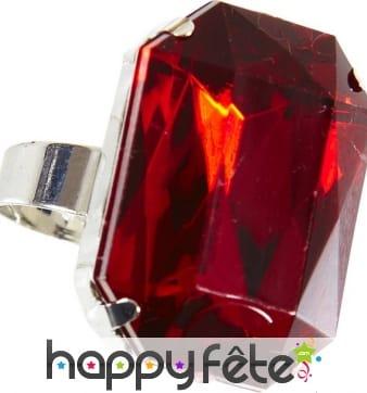 Bague avec grosse pierre rouge, adaptable