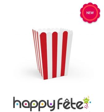 Boite à popcorn lignées rouge et blanche, par 6