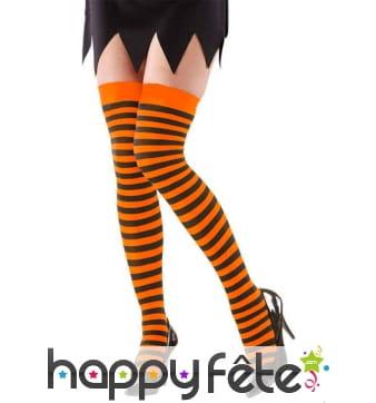 Bas avec rayures noires et orange