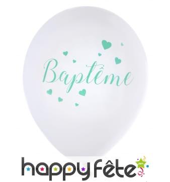 Ballons Baptême blanc menthe de 23cm, par 8