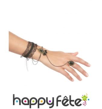 Bague bracelet dentelle noire avec gemmes noires