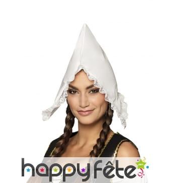 Bonnet blanc de bergère à pointe pour femme
