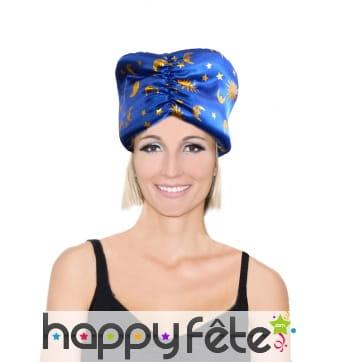 Bonnet bleu de pere noel velours
