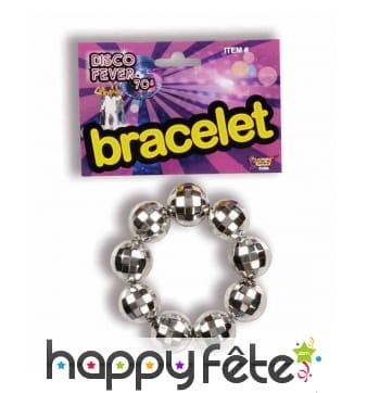 Bracelet boules disco argentées