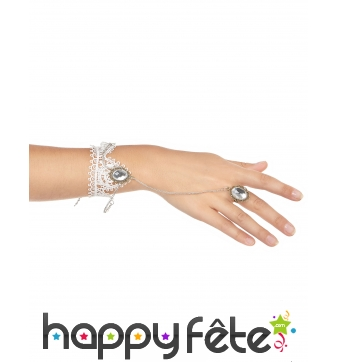 Bague Bracelet en dentelle blanche