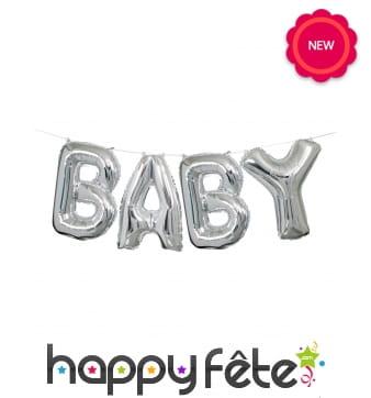 Ballons Baby en lettres, argentés