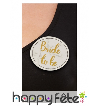 Badge Bride To Be et 4 badges Bride Tribe blanc or