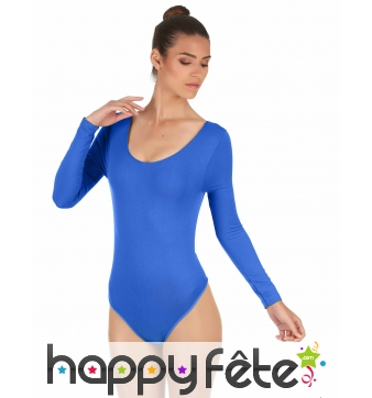 Body bleu uni avec longues manches, pour femme