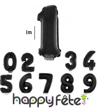 Ballon chiffre aluminium noir de 1m