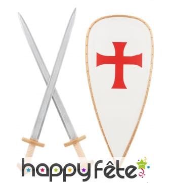 Bouclier croisé avec 2 épées pour enfant