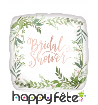 Ballon carré blanc Bridal Shower feuilles, 43 cm