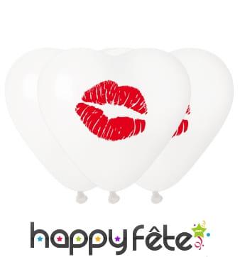 Ballons coeur blanc bisou lèvres rouges