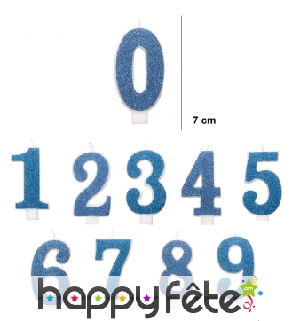Bougie chiffre bleue pailletée de 7 cm