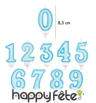 Bougie chiffre bleue pour anniversaire de 8,5 cm