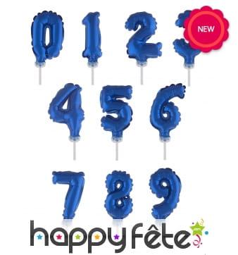 Ballon chiffre cake topper bleu foncé de 12cm