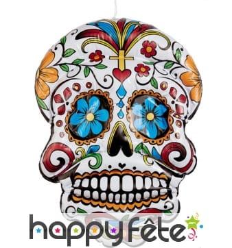 Ballon crâne Dia de los Muertos à gonfler, 100 cm